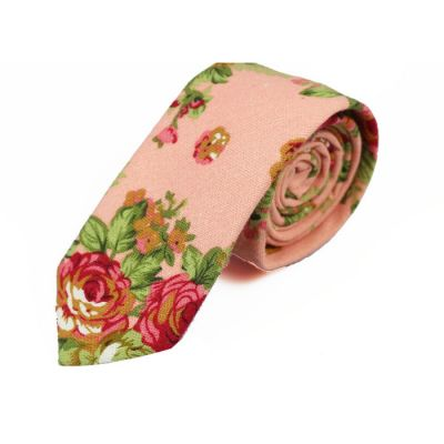 6cm Khaki Rose, Moccasin and Midnight Cotton-Linen Blend Floral Skinny Tie