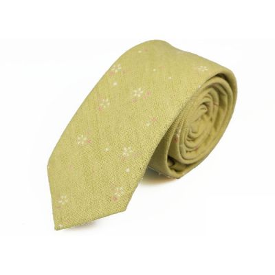 6cm 香草色、粉紅色和白色麻棉花紋圖案領帶