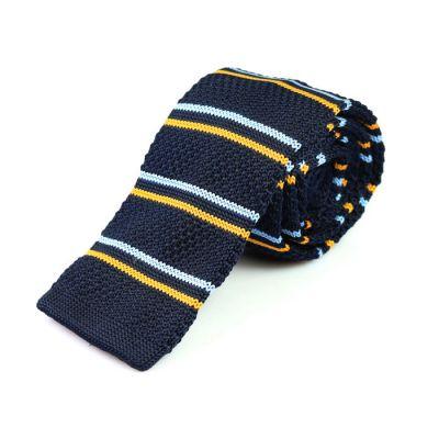 6cm Midnight Blue, Avocado Green and Pale Blue Lily Knit Striped Skinny Tie