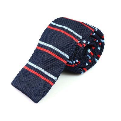 6cm Midnight Blue, Pale Blue Lily and Ferrari Red Knit Striped Skinny Tie