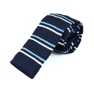 6cm Midnight Blue, Pale Blue Lily and White Knit Striped Skinny Tie