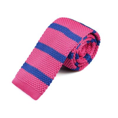 6cm Rogue Pink and Sky Blue Knit Striped Skinny Tie