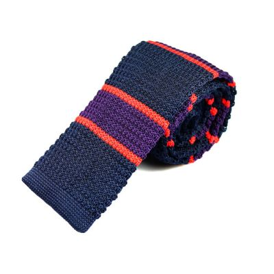6cm Midnight Blue, Purple Iris and Scarlet Knit Striped Skinny Tie