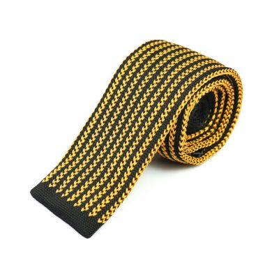 6cm Sedona and Black Eel Knit Striped Skinny Tie