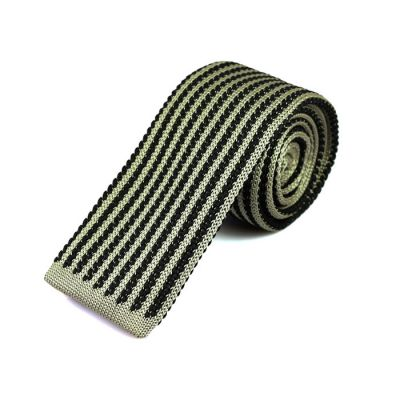 6cm Black Eel and Platinum Knit Striped Skinny Tie