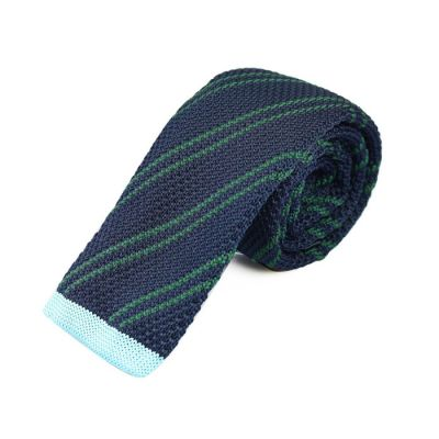 6cm Midnight Blue and Dark Forest Green Knit Striped Skinny Tie