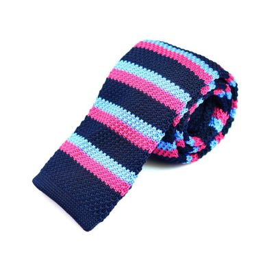 6cm Dark Slate Blue, Tron Blue and Carnation Pink Knit Striped Skinny Tie