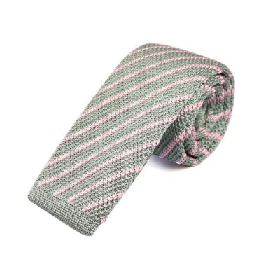 6cm Gray Cloud and Pig Pink Knit Striped Skinny Tie