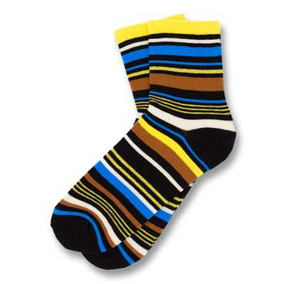 Black, Yellow, Blue, Sienna and White Cotton Striped Socks