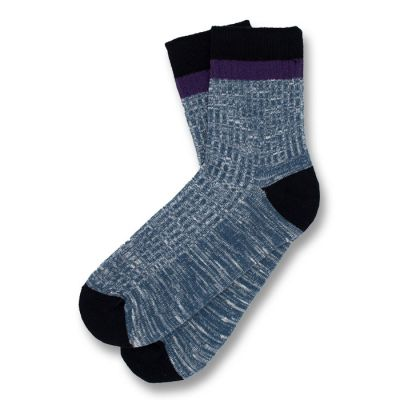 Dark Slate Blue, Black and Purple Jam Cotton Solid Socks