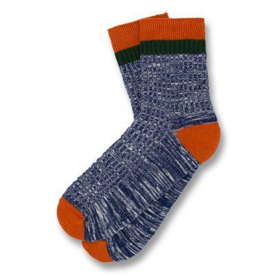 Dark Slate Blue, Papaya Orange and Dark Forest Green Cotton Solid Socks