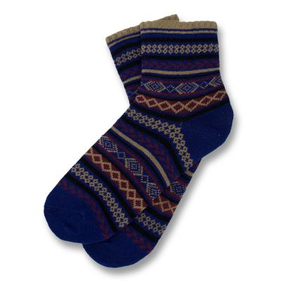 Midnight Blue, Wood, Plum Velvet and Black Cotton Argyle Socks