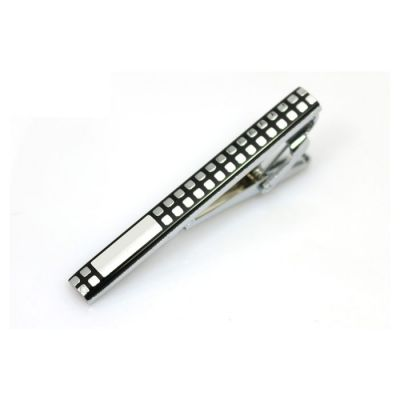 Silver Checkered Black Tie Bar