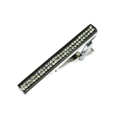 Silver Bejeweled Mirrored Tie Bar