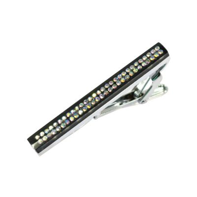 Gray Bejeweled Mirrored Tie Bar