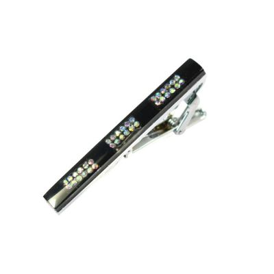 Black Bejeweled Mirrored Tie Bar