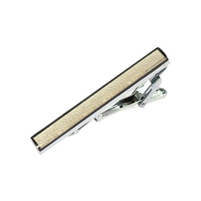 Gray Gemstone Black Tie Bar