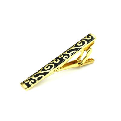 Gold Carved Black Tie Bar