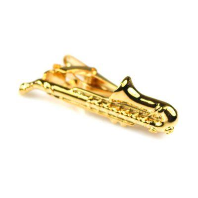 Gold Saxophone Tie Bar