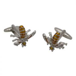 Orange Bejeweled Bee Silver Cufflinks